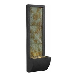 Kenroy Home - Kenroy Home Walla Indoor Wall Fountain, Natural Slate & Rubbed Bronze - 50200SL - A gentle rush of water twinkles on the lighted Slate facade of Walla. This contemporary wall fountain, with its sleek posture and stone filled trough, has a low warm glow and would make a serene focal point in a home, waiting room or office.