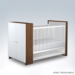 ducduc aj II crib - Four mattress height settings. Fixed side rails for stability. Convenient closed storage hides one adjustable shelf. Toddler rail conversion kit available. Lock-mitre joints for strength.