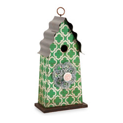 Green Geometric Pattern Birdhouse w/ Tin Roof - *Add a touch of whimsy to your sunroom or covered garden with the Ciera birdhouse. Painted in bright green with a bold clover pattern, accented with an antique styled doorknob and a corrugated tin roof, this birdhouse is full of cheer.