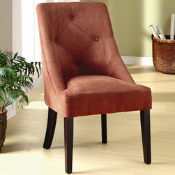 Hokku Designs - Uptown Microfiber Dining Chair - Versatile style meets plush comfort in our clean-lined, generously padded dining chair. The classic design lends itself to nearly any d cor and counter style. Features: -Upholstered in microfiber.-Cushion type: Tight and thick.-Premium padding on back and deep seat plush seating comfort.-ISTA 3A certified.-Frame construction: Solid wood.-Leg finish: Espresso.-Collection: Uptown.-Distressed: No.-Upholstered Seat (Upholstery: Apple Martini): Yes .Dimensions: -Seat height: 18-20''.-Overall Product Weight: 21 lbs.
