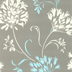 Decorline - Nerida Light Gray Floral Silhouette Wallpaper - This pretty paper can't help but bring a smile. A delicate floral in the softest hues with touches of tranquil aqua is the perfect backdrop for your favorite setting.