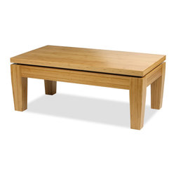 """Bamboogle - Bamboogle 21-2244  Rio Bamboo Coffee Table  44""""x24""""x18"""", Honey - The Bamboogle Rio Collection is an unusually stout and strong, yet elegant piece of furniture and is a very affordable, excellent value for solid hard wood furniture being partially handmade, using an environmentally earth friendly species of bamboo that is as hard as oak with modern, simple, sophisticated lines for accent occasional tables and great for small furniture needs in any home, apartment or condo and for any living room, bedroom and den or bar. Our 'Rio' Honey Finished Coffee Table from Bamboogle insures that you're purchasing an item with special qualities hidden inside.  We've given the Rio Collection a lusty heaviness in an exciting contrast to its smooth clean lines.   The slightly tapered legs and floating top design compliment the intricate laminations of bamboo as they work together giving a strong yet stylish modern look that works in both traditional and contemporary settings.   It is machine tooled by hand, and made of solid bamboo with no veneers, filler wood, or particle board.  It's all bamboo, which is one of Earth's truly plentiful and sustainable resources.  The clean lines of this piece, the slightly tapered legs, floating top design and the intricate laminations of bamboo work together to give a stylish and modern look that works in both traditional and contemporary settings.  Bamboo is a good source for furniture as it is 15% harder than maple which ensures long lasting beauty and strength.  If it's a beautiful piece of handmade-handtooled furniture that you are after, then you have it here.  If you want to do your small part in following the trend toward environmental sensitivity, the story gets better.                      Bamboo is a remarkable natural resource for several reasons.  It grows in vast densely packed forests and must be harvested to keep the trees from overcrowding.  Our bamboo comes out of the ground 8'-10' in diameter and grows 2-3 feet per d"""