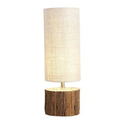 Kathy Kuo Home - Sebasco Rustic Wood Log Accent Lamp - The Sebasco plays with both light and scale, in the form of a modern table lamp dominated by an elongated shade.  A stout natural wood base adds and earthy, grounded aspect to this rustic modern piece.