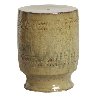 Kathy Kuo Home - Garden Stool Seat, Beige, Taupe, Tan - Traditionally used in China as tea tables-these garden stools make a perfect addition to your living space as side tables, or clustered together to be used as a coffee table. Glazes are triple fired for added luster and shine. With a hand made product, glaze variations of up to 10% is to be expected.