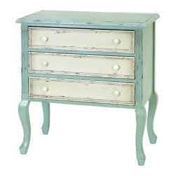 Benzara - Antique Dresser White Blue Colors 3 Spacious Drawers Furniture Decor 61409 - Charming antique style wood dresser in rustic white and blue colors with 3 spacious drawers home furniture decor