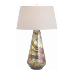 Arteriors - Consuela Lamp - Light up your world with this magical lamp. Organic swirls of iridescent color play along the glass skirt base, beneath a simple white shade and clear marble-shaped finial.