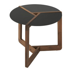 Blu Dot - End Table - Slices of powder-coated steel team with solid walnut to achieve eye-catching results. Features: -Powder-coated steel top.-Solid walnut legs.-Color: Walnut.-Distressed: No.Dimensions: -Small dimension: 16'' H x 18'' W x 18'' D.-Large dimension: 20'' H x 19'' W x 19'' D.