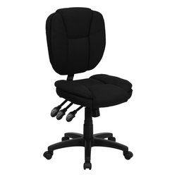 Flash Furniture - Mid-Back Black Fabric Multi-functional Ergonomic Task Chair - This Office Task Chair has multi-functional controls which makes this chair a pleasure to use. When standard office chairs have your legs/ back/ and neck aching/ this chair is the right choice for you. Featuring an overstuffed seat and back that allow true ergonomics/ this chair is sure to be the cure for all your chair-related fatigue.