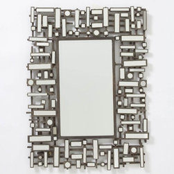 Pieced Geom Mirror - This mirror is modern and structured, but all those iron and glass pieces really make it interesting to look at. This would be beautiful over a fireplace mantel or as a statement piece in a bedroom.