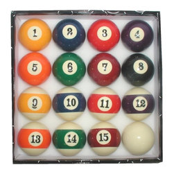 Trademark Global - Billiard Pool Balls Set - Brand new set of billiard balls. Standard sized numbers and weight . 12 in. Dia. x 4 in. H (7.62 lbs.)This Billiards Ball set will provide outstanding endurance and un-compromised quality and features the easy to read large size numbers. Produced to the most exacting tolerances and standards, every ball in these sets is, on top of the multiple regular controls, individually calipered to insure maximum consistency from ball to ball in order to constitute a homogeneous matched set for true excellence at play. The resins used in these top quality sets even further maximize the ball and cloth life.
