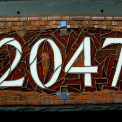"""Nutmeg Designs - Mosaic House Numbers on Slate - Mosaic House Number on slate, stained glass, gold smalti and glass tile, four digit, 12x8"""""""