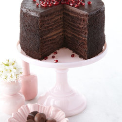 """Strip House - 24-Layer Chocolate Cake - Strip House24-Layer Chocolate CakeDetails12 layers of luscious chocolate cake 11 layers of smooth chocolate filling and a top layer of French semisweet chocolate ganache.Ships frozen. Available all year. Garnish not included. 8""""Dia.; 5 lbs. Serves 8-10. Ingredients: Cake: Cake flour sugar butter cocoa powder eggs brewed imported espresso milk baking soda baking powder salt. Filling: Milk heavy cream semisweet chocolate sugar eggs flour cornstarch pure vanilla extract.Ganache: Imported semisweet chocolate heavy cream.Perishable items are shipped to you directly from our vendors. Therefore if you need to cancel an order we must receive the cancellation at least four days prior to your requested delivery date. We added all garnishes as inspiration for your own presentations."""