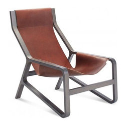"""Blu Dot - Toro Lounge Chair by Blu Dot - Running with the bulls isn't what it's cut out to be. Shout """"Ole!"""" from the comfort of the Blu Dot Toro Lounge Chair instead. Its full grain leather sling held up by a natural beech wood frame provides the perfect seat for relaxing with margarita in hand. Available in bright Day, dark Night or rich Chocolate (which is great day or night). Features a metal zipper detail on the back--because zippers are just that cool. In 1997, Blu Dot was established in Minneapolis by three college friends with a shared passion for art, architecture and design. Then and today, their goal is to bring good design to as many people as possible, collaborating to create modern home furnishings and accessories that are useful, affordable and exceedingly desirable."""