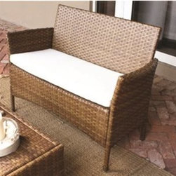 Panama Jack - Panama Jack St. Barth's Loveseat - Escape to your very own Caribbean paradise with The St Barth's collection by Panama Jack. The Loveseat incorporates an extruded aluminum frame with an exclusive thick woven wicker fiber from Viro and is strong and durable. A fast drying cushion of polyester fabric as shown compliments the Loveseat to provide extra support. For an additional charge you can upgrade to a high quality Sunbrella fabric cushion with a variety of colors and patterns to choose from to match your outdoor decor. Combine the loveseat with other items in this collection to create the ultimate Caribbean paradise in your home patio. The St. Barth's collection by Panama Jack incorporates an extruded aluminum frame with an exclusive thick woven wicker fiber from Viro. The arms on the lounge chair and loveseat are thick and provide a comfortable arm rest. Fast drying cushions with outdoor polyester fabric are included and are suitable for all year around use outdoor.More than three decades ago the Original Panama Jack suncare products were quietly introduced on Florida's beaches. Word gets around in a beach town. Like the sand in their shoes and the sunset memories in their minds loyal locals and visitors alike took Panama Jack home with them to Main Street America and to the world. Since those early days Panama Jack established a following that extends far beyond stretches of pure white sand. Made with Love Care and Pride since 1974 Panama Jack is committed to bringing the feeling of escape fun adventure and the lifestyle of the tropics to people everywhere. They will continue to deliver products that provide you with even more freedom to enjoy what's most meaningful to you and your family. Features include Outdoor Loveseat with cushion Constructed of extruded aluminum frame that will not rust Requires Assembly Cushion as shown included with Polyester Fabric Can be used indoors or outdoors Sturdy aluminum legs for extra support. Specifications Finish