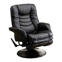 Coaster - Coaster Recliners Casual Swivel Recliner Chair in Black Leatherette - Coaster - Recliners - 600229 - Introduce casual style and unsurpassed comfort into any room of your home with the remarkable chairs featured in this recliner collection. Dual rocker and reclining features let you choose your preferred method of relaxation, while a wide range of upholster options lets you choose the finish that suits your style. Place in your living room or den for stylish comfort, tuck into a corner with a floor lamp for a cozy reading corner or pair with your love seat and sofa for a stylish seating collection.