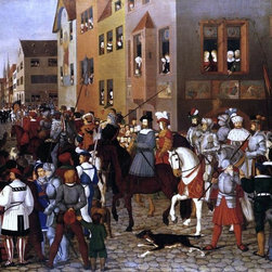 """Franz Pforr The Entry of Emperor Rudolf of Habsburg into Basle Print - 18"""" x 24"""" Franz Pforr The Entry of Emperor Rudolf of Habsburg into Basle premium archival print reproduced to meet museum quality standards. Our museum quality archival prints are produced using high-precision print technology for a more accurate reproduction printed on high quality, heavyweight matte presentation paper with fade-resistant, archival inks. Our progressive business model allows us to offer works of art to you at the best wholesale pricing, significantly less than art gallery prices, affordable to all. This line of artwork is produced with extra white border space (if you choose to have it framed, for your framer to work with to frame properly or utilize a larger mat and/or frame).  We present a comprehensive collection of exceptional art reproductions byFranz Pforr."""