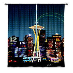 """DiaNoche Designs - Window Curtains Unlined - Corina Bakke Seattle Skyline Sports - DiaNoche Designs works with artists from around the world to print their stunning works to many unique home decor items.  Purchasing window curtains just got easier and better! Create a designer look to any of your living spaces with our decorative and unique """"Unlined Window Curtains."""" Perfect for the living room, dining room or bedroom, these artistic curtains are an easy and inexpensive way to add color and style when decorating your home.  The art is printed to a polyester fabric that softly filters outside light and creates a privacy barrier.  Watch the art brighten in the sunlight!  Each package includes two easy-to-hang, 3 inch diameter pole-pocket curtain panels.  The width listed is the total measurement of the two panels.  Curtain rod sold separately. Easy care, machine wash cold, tumble dry low, iron low if needed.  Printed in the USA."""