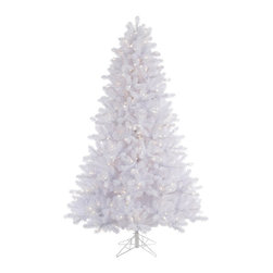 """Vickerman - Crystal White Pine 550WmWht (6.5' x 49"""") - 6.5' x 49"""" Crystal White Tree , 1365 PVC tips and 550 Warm White Italian LED Lights, metal stand. Utilizes energy-effiecent, durable LED technology."""