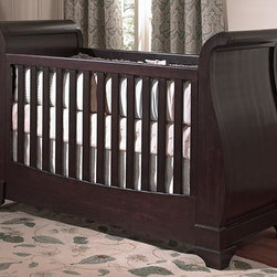 Home Decorators Collection - Chesapeake Sleigh Crib - Traditional style and heirloom quality are the hallmarks of our Chesapeake Sleigh Crib. The sweeping lines of the sleigh-inspired headboard and footboard set off the stepped feet and classic rail design of the fixed sides. Remove the front panel and lower the mattress spring to convert this baby crib into a toddler day bed. Rich merlot finish. Converts to a toddler bed. Mattress and bedding not included.