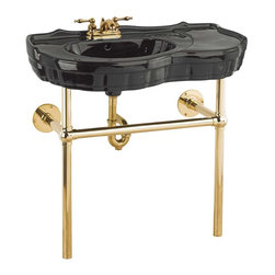 Renovators Supply - Console Sinks Black Southern Belle Sink Bistro Brass Legs 4'' - Console Sinks: SOUTHERN BELLE