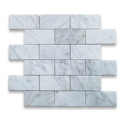 "Stone Center Corp - Carrara Marble Subway Brick Mosaic Tile 2x4 Polished - Carrara white marble 2"" x 4"" brick pieces mounted on 12"" x 12"" sturdy mesh tile sheet"