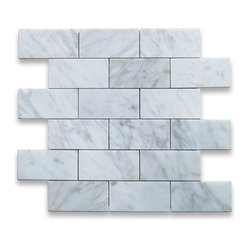 "Stone Center Corp - Carrara Marble Subway Brick Mosaic Tile 2x4 Polished - Carrara White Marble 2x4"" brick pieces mounted on 12x12"" sturdy mesh tile sheet"