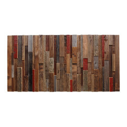 "Reclaimed wood wall art 48""x24""x2"" made of old barn wood - This artwork is constructed from reclaimed local barnwood that is over 80 years old. The artwork consists of multiple species of wood and each piece features the original paints. Each piece is hand selected for its character and natural patina to enhance the beauty of your piece. The red iron oxide paint is the most common barn wood preservation methods of the last 200+ years since the cost of the paint was very low. The darker brown natural woods were those aged within a barn, while grey boards have been weathered outside. Each art piece then has two coats of low VOC water base sealer applied to preserve the beauty of the wood. This artwork measures 48″ x 18″ x 2″. The art pieces may be installed either vertically or horizontally and you can also buy two and install them side by side, vertically or horizontally."