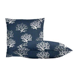 "Cushion Source - Navy Coral Throw Pillow Set - The Navy Coral Throw Pillow Set consists of two sophisticated yet fun 18"" x 18"" cotton duck throw pillows with a nautical coral print in gray and natural on a navy background."