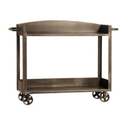 Industrial Furniture - Here's a no-fuss-no-muss two-tier trolley. The four wheels, basic structure, and plain design have the elements of industrial style while the bronze color gives it a rustic feel.