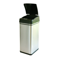 """itouchless - 13 Gallon Deodorizer Stainless Steel Automatic Touchless Trash Can with Carbon F - Smelly and oversized garbage doesn't stand a chance with the upgraded 13 gallon Touchless Trash Can. Its extra wide opening (11.75 diagonal) allows disposal of larger debris and comes equipped with the most advanced infrared sensor technology on the market; opening the lid automatically when you approach within 6 inches, and closing it when you walk away. Thanks to the automatic lid closing system, the built-in carbon filter can work its magic; eliminating and neutralize nasty odors effectively. The pre-installed Carbon Filter Gate (CFG) has a 3-dimensional surface area, maximizing the deodorizer's odor-absorption capabilities. The deodorizer is non-scented and environmental friendly, making it safe for use around children and pets, providing you with a cleaner and fresher home. The deodorizer can fight odors for 3 months before needing replacement. Features: -New iTouchless AI Smart-Chip IITM enables the Touchless Trash Can to know exactly when you want to open and close the lid -New """"Eagle Eye"""" Infrared Sensor creates a 100% hands-free operation -Removable top cover for easy cleaning -Fits standard 10, 14, 16 gallon garbage bags -Extra-wide opening (11.75"""" Diagonal) for larger debris -Specially designed garbage bag retainer ring tightly holds the edges of the bag to prevent it from spilling -Manual open/close buttons and power switch -Uses 4 D-sized Alkaline batteries (not included) -Low energy-consuming -Equipped with 3-D Carbon Filter Gate (CFG) and deodorizer to neutralize the toughest odors -Includes one (1) carbon deodorizer, refills sold separately -Height with lid opening: 35.5"""" -Capacity: 49 liter (13 gallons) -Material: Stainless steel -Finish: Brushed silver -Weight: 12.00 lbs. -Overall Dimensions: 27.25"""" H x 10.5"""" W x 14.5"""" D"""