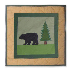 Patch Quilts - Lodge Fever Bear Toss Pillow 16 x 16 Inch - Decorative applique Quilted Pillow, Bed and Home, Ensembles and Bedding items from Patch Magic,   - Machine washable  - Line or Flat dry only Patch Quilts - TPLGFVBR