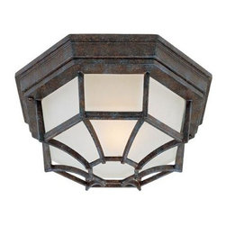 Joshua Marshal - One Light Frosted Glass Rustic Bronze Outdoor Flush Mount - One Light Frosted Glass Rustic Bronze Outdoor Flush Mount