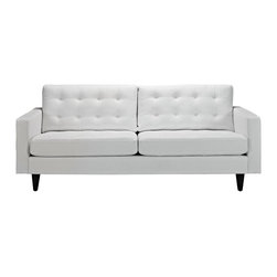 GRIMES BONDED LEATHER SOFA - Deeply tufted buttons / Bonded leather /Solid wooden legs / Glides to prevent scratching