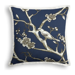 Blue Modern Chinoiserie Tailored Throw Pillow - The Tailored Throw Pillow is an updated, contemporary pillow style with the center fabric framed by a thin contrast flange.  Voila! -it's artwork for your couch!  We love it in this dark blue & white modern chinoiserie print with blossoms & birds branching out across a soft lightweight cotton.