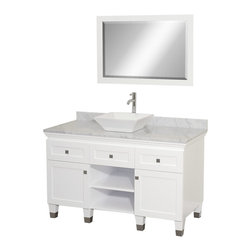 "Wyndham Collection - Wyndham Collection 48"" Premiere White Vanity Set w/ White Carrera Marble Top - A bridge between traditional and modern design, and part of the Wyndham Collection Designer Series by Christopher Grubb, the Premiere Single Vanity is at home in almost every bathroom decor, blending the simple lines of modern design like vessel sinks and brushed chrome hardware with transitional elements like shaker doors, resulting in a timeless piece of bathroom furniture."