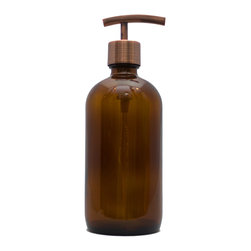 Southern Home Supply - Amber Apothecary Dispenser With Modern Copper  Pump - Our Bath Bottle line includes a huge variety of beautiful and unique soap dispenser bottles.  Save money and help the environment by switching to a reusable glass dispenser instead of disposable plastic dispensers.