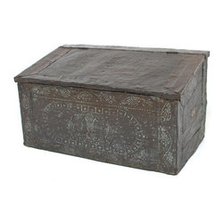 "Pre-owned Copper Clad Firewood Box - Antique wooden chest clad in sheets of decorated copper used for storing firewood. Rustic finish, missing handles and some original nails. Box is strong and intact. Estimated circa 1920's and in fair condition.    Dimensions: 28""w x 16""d x 16""h"