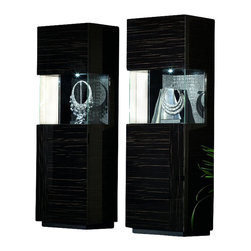 Rossetto - Rossetto Nightfly Right Door Curio in Ebony - Rossetto - Curio Cabinets - R413401216D03 - An orginal touch of new refinement also inside the glass cupboard with the backs covered in crocodile leather effect material.