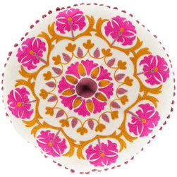 Surya - Suzani, Magenta Pillow - These 100% linen pillows have a unique round shape. This Asian inspired design is embellished with vibrant embroidery, which will provide a pop of color to any room.