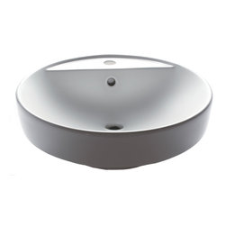 EAGO - EAGO BA141 White Above Mount Porcelain Bathroom Sink Basin with Single Hole - A delightfull round bath basin ready to be used with a single hole faucet. This neatly designed sink by EAGO gets the job done and keeps you within budget its a great value.