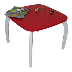"River Ridge - Bow Leg Table in Red Finish - Carb compliant. Made from painted MDF wood composite. Assembly required. 23.5 in. L x 23.5 x 18.75 in. H (14.7 lbs.)RiverRidge®Kids ""Bow-Leg"" Table is the perfect play table!. Wooden table easily fits four matching chairs or stools around it. Mix and match with RiverRidge®Kids ""Bow-Leg"" Chairs and RiverRidge®Kids ""Bow-Leg"" Stools."