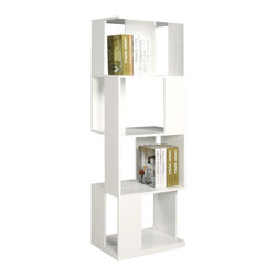 Chintaly Imports - All Side Open Modern Book Shelf - Contemporary styled open bookcase in a box design. Finished in High gloss white lacquer. Functional and stylish.