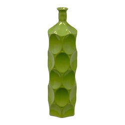 "Benzara - Ceramic Bottle With Circular Embedded Design Body in Green (Medium) - A multiversatile decor item that will enhance and accentuate your interior decor, the Unique Ceramic Bottle With Thin Mouth and Circular Embedded Design Body in Green (Medium) features a lovely slim mouth and a stylish circular embedded design on its body. This ceramic bottle can be used as a standalone decor item or be paired with flowers to decorate and add color to your mantle place, desk or table. The dimensions of the Unique Ceramic Bottle With Thin Mouth and Circular Embedded Design Body in Green (Medium) are 4.5""x18""H. Ceramic; Green; 4.5""x18""H; Dimensions: 0""L x 5""W x 18""H"