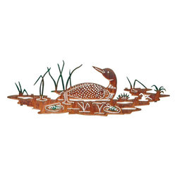 "Lazart - Lakeside Loon Rustic Metal Wall Art - Lakeside Loon Rustic Metal Wall Art. Who can think of the north woods without hearing the haunting call of the loon? This finely detailed rustic wall art is remarkably cut from steel and given a hand painted color wash of subtle woodland tones to enhance the already realistic scene. Reeds and lily pads stand out in rich green while the magnificent loon, each wing feather carefully laser cut, imparts its haunting beauty to the scene. A great gift for office or den, this rustic metal wall art is a waterfowl enthusiast's delight. Measures 8-1/2"" H x 24"" W."
