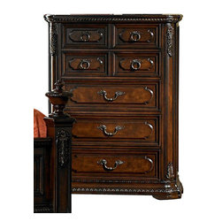 Homelegance - Homelegance Spanish Bay Chest in Dark Cherry - The Spanish Bay Collection exemplifies the best of Old Europe. Raised ash burl veneer panels are applied to each drawer front. Antiqued brass hardware adds a distinctive detail which subtly contrasts with the dark cherry finish. Every case piece features graceful acanthus carvings with marble tops on both the dresser and night stand. Bring home Spanish Bay and bring home the grandeur of European heritage.