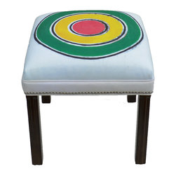 """Carrier Collective - """"Green Sun"""" Ottoman - Meet """"Green Sun"""".  One of our Native American inspired designed Ottomans."""