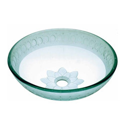 Renovators Supply - Vessel Sinks Frosted/Etched Glass Climbing Vine Round Vessel Sink | 12849 - Glass Vessel Sinks: Single Layer Etched Tempered glass sinks are five times stronger than glass, 1/2 inch thick, withstand up to 350 F degrees, can resist moderate to high degrees of impact and are stain-proof. Ready to install this package includes FREE 100% solid brass chrome-plated pop-up drain, FREE machined 100% solid brass chrome-plated mounting ring and silicone gasket. Measures 16 1/2 inch diameter x 6 inch deep x 1/2 inch thick.