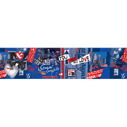 Walls Republic - Blue Hearts Wallpaper Border M8917 - City of Love is a wallpaper mural border adorned with city imagery, hearts, gems, and stars. Use it for a lit up New York City vibe in your child's bedroom. Due to this item being a custom order, it takes longer to ship than our regular products.