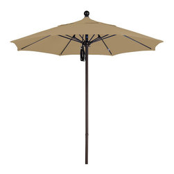 None - Commercial 7.5-foot Aluminum Umbrella with Sunbrella Fabric - Perfect for restaurants or homes requiring a higher standard, this 7.5-foot umbrella features a deluxe pulley system and a double vent Sunbrella fabric canopy. The umbrella is available in forest green, camel, teak, heather beige or brass.