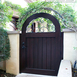 Arched French Mediterranean Style Gate in Solid Mahogany Wood & Deco Iron Scroll -